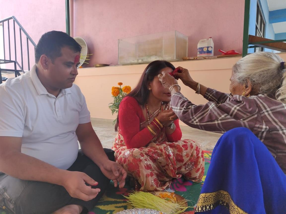 Putting Tika in Dashain